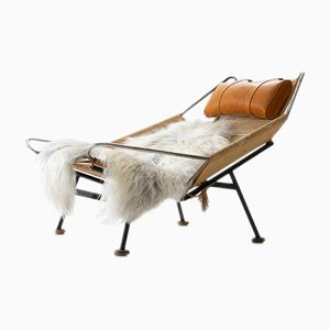 Danish GE225 Flag Halyard Lounge Chair by Hans Wegner for Getama, 1950s