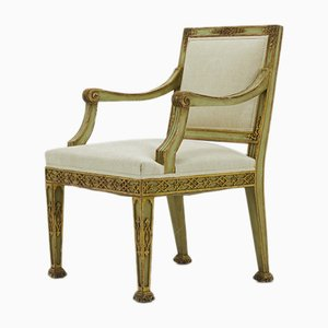 Antique Italian Painted & Gilt Wooden Armchair