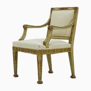 Antique Italian Painted & Gilt Wooden Armchair