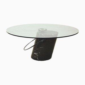 Mesa de centro italiana vintage de cristal y mármol, años 70