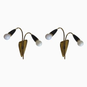Mid-Century German Brass Sconces, 1950s, Set of 2