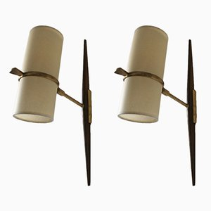French Brass, Wood, and Cardboard Sconces from Lunel, 1950s, Set of 2