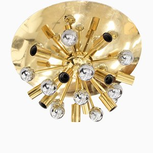 Large Mid-Century Brass Sputnik Flush Mount from Boulanger