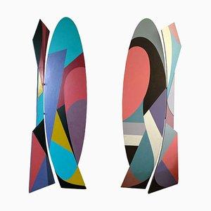 Doppelseitige bemalte Starkis Holzskulptur von Rino Crivelli, 1992