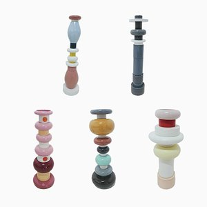 Postmodern Ceramic Totems by Ettore Sottsass for Bitossi, 1990s, Set of 5