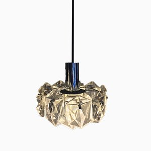 Chrome Plating and Crystal Ceiling Lamps from Kinkeldey, 1970s, Set of 2