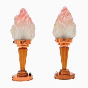 Art Deco Bakelite & Glass Table Lamps, 1930s, Set of 2