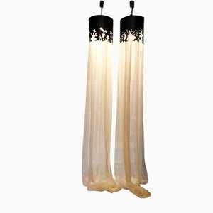 Art Deco French Ceiling Lamps, 1980s, Set of 2