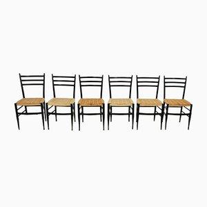 Italienische Esszimmerstühle aus Holz und Seil von chiavari Spinetto, 1950er, 6er Set