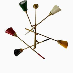 Lámpara de techo italiana de latón y metal galvanizado de Stilnovo, años 50