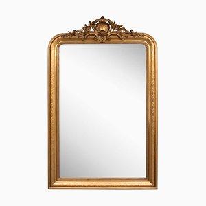Espejo francés antiguo dorado, década de 1850
