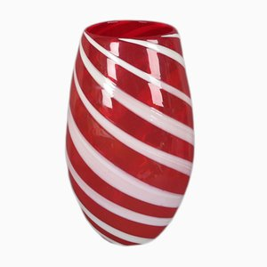 Große italienische moderne Vase aus rotem Muranoglas, 1950er