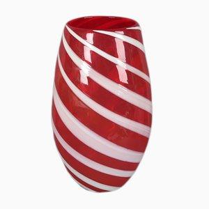 Jarrón italiano moderno grande de cristal de Murano rojo, años 50