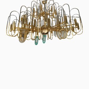 Large Italian Brass & Chrome Chandelier by Gaetano Sciolari, 1970s
