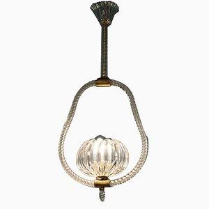 Italienische Art Deco Deckenlampe aus Muranoglas, 1938
