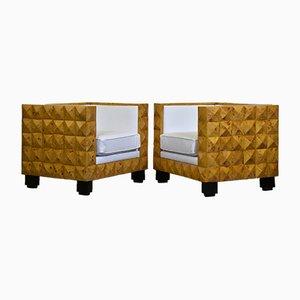 Art Deco Armlehnstühle aus Leder, Wurzelholz & Furnier, 1980er, 2er Set