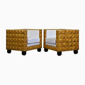 Art Deco Leather, Burl, & Veneer Armchairs, 1980s, Set of 2