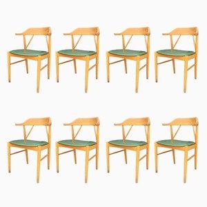 Schwedische Mid-Century Esszimmerstühle aus Buchenholz von Ferdinand Lundquist für Gemla Möbler, 1960er, 8er Set