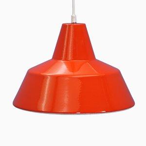 Dänische orangefarbene Deckenlampe aus Emaille und Metall von Louis Poulsen, 1970er