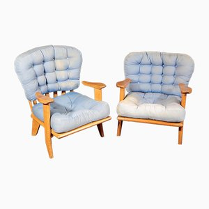 French Oak Lounge Chairs by Guillerme et Chambron for Votre Maison, 1960s, Set of 2