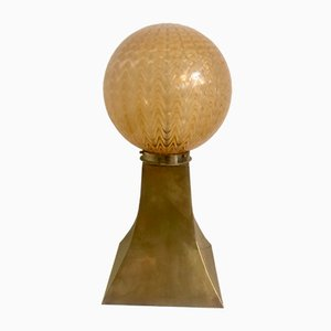 Italian Murano Glass & Bronze Table Lamp from Mazzega, 1970s