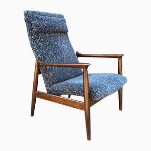 Vintage Oak & Blue Velour Lounge Chair, 1970s