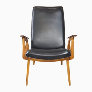 Mid-Century Beech and Cow Leather Armchair, 1960s