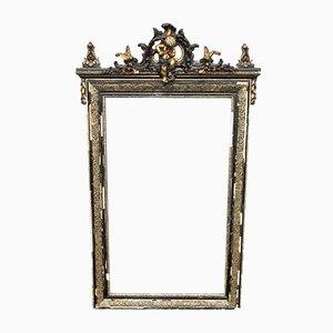 Italienischer antiker ebonisierter & vergoldeter Spiegel, 1890er