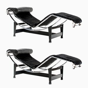 Italian LC4 Chaise Lounges by Le Corbusier for Cassina, 1980s, Set of 2