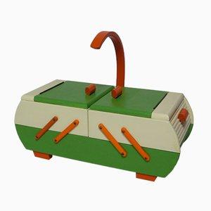 Mid-Century Cream, Green, & Orange Sewing Box