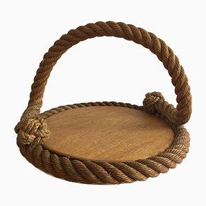 Vassoio in legno e corda di Audoux Minet, anni '50