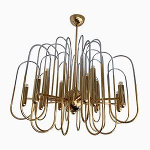 Italian Brass & Chrome Astrolab Chandelier by Gaetano Sciolari, 1970s