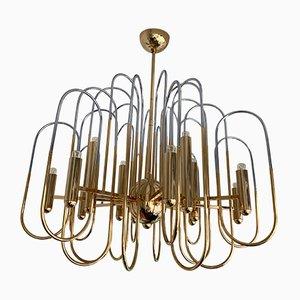 Lámpara de araña Astrolab italiana de latón y metal cromado de Gaetano Sciolari, años 70
