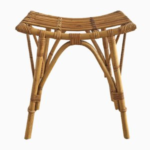 Mid-Century French Rattan and Bamboo Stool, 1950s