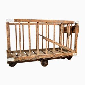 Carrito industrial vintage de madera
