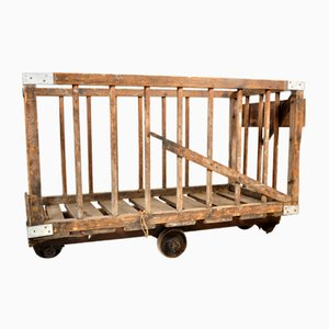 Industrieller Vintage Warentransportwagen aus Holz