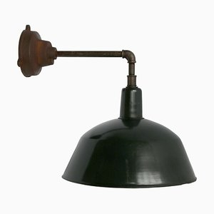 Vintage Industrial Black Enamel & Cast Iron Factory Wall Light, 1950s