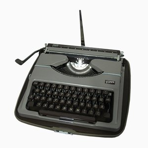 Portable Taupe Typewriter Tippa B with Case from Gossen, 1954