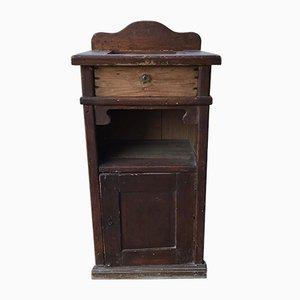 Antiker rustikaler Nachttisch aus Kiefernholz