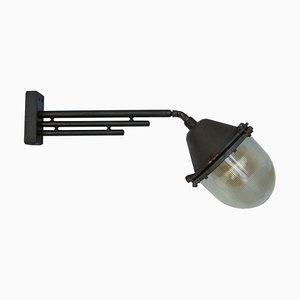 Große industrielle Wandlampe aus Gusseisen & Glas von Holophane, 1950er