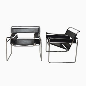 Leather Wassily Model B3 Lounge Chairs by Marcel Breuer, 1970s, Set of 2