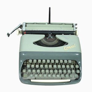 Czech Model 232 Grey Portable Typewriter with Case from Consul, 1965