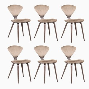 Wood and Cow Leather Dining Chairs by Norman Cherner for Plycraft, 1960s, Set of 6