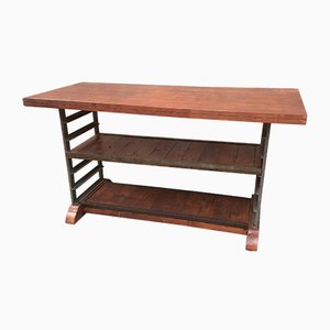 French Iron and Fir Industrial Console Table, 1920s