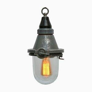 Lampe à Suspension Industrielle Vintage en Aluminium Gris et Verre