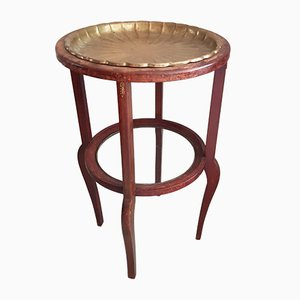 Antique Art Nouveau Side Table with Removable Brass Tray
