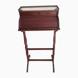 Small Antique English Brass, Mahogany, and Marble Secretaire