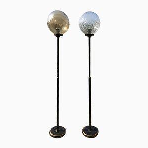 Lampade da terra in stile Art Déco con paralumi sferici in vetro, anni '40, set di 2