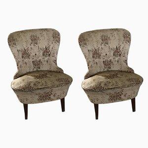 Mid-Century Walnut Armchairs, 1950s, Set of 2
