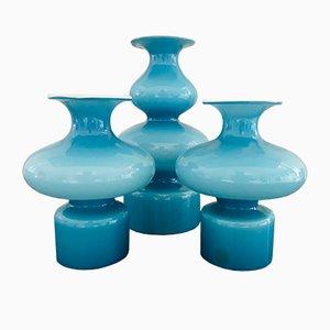 Jarrones Carnaby daneses de vidrio de Per Lütken para Holmegaard, años 60. Juego de 3